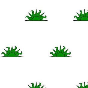 Argent, a demi-sun vert