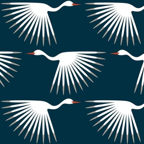 "Art Deco Cranes - Midnight/White 10"" Wingspan"