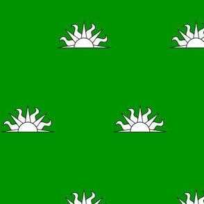Vert, a demi-sun argent