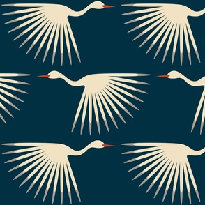 "Art Deco Cranes - Midnight 10"" Wingspan"