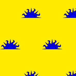 Or, a demi-sun azure