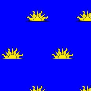 Azure, a demi-sun Or