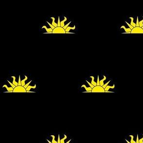 Sable, a demi-sun Or