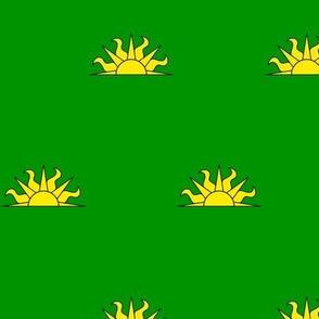 Vert, a demi-sun Or
