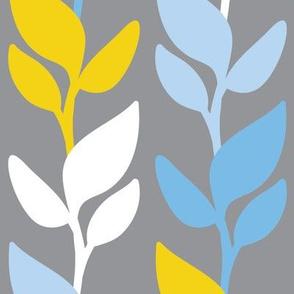 Leaf Stripe Grey Blue Yellow