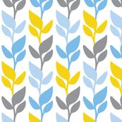 Leaf Stripe White Blue Grey Yellow