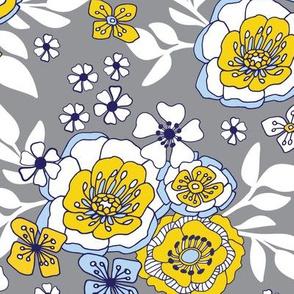 Queenwood Garden Grey Yellow White