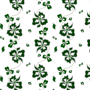Haute Couture Hawaiian Garlands - forest green on white