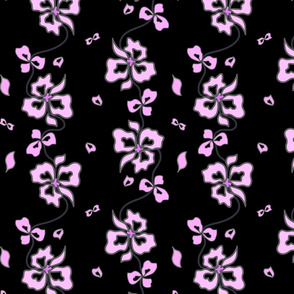 Haute Couture Hawaiian Garlands - mauve pink on black