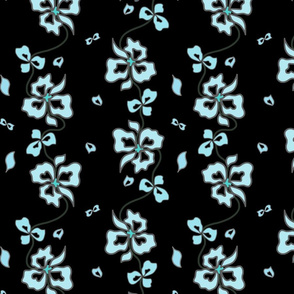 Haute Couture Hawaiian Garlands - turquoise blue on black