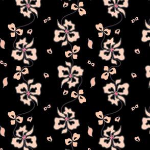 Haute Couture Hawaiian Garlands - apricot blush on black