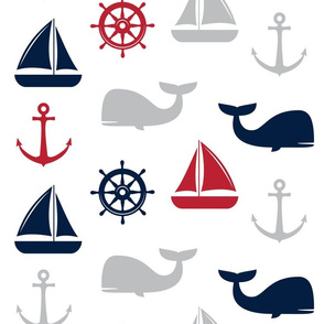 (jumbo scale) nautical in navy and red - whale, sailboat, anchor,  wheel LAD19BS