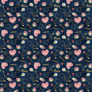 (micro scale) floral nurse melody - nursing - syringe, ekg, stethoscope -  blue - LAD19BS