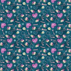 (micro scale) floral nurse melody - nursing - syringe, ekg, stethoscope -  teal and purple - LAD19BS