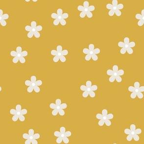 mustard retro flowers