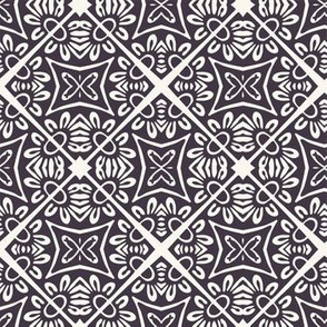 Hand drawn mosaic tile shape. Repeating floral azulejo background.