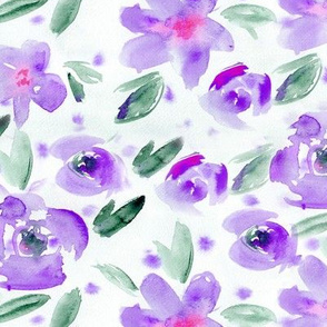 Amethyst secret garden • watercolor flowers in purple
