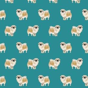 tibetan spaniel dog fabric - tibetan spaniel, dog, dogs, tibetan spaniel dog fabric - teal