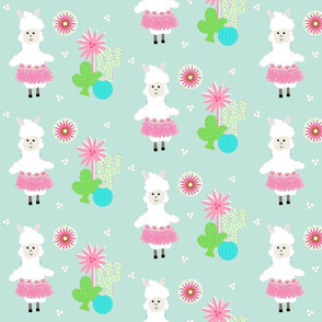 LLAMA Ballerina pink tutu and cactus on mint greeen -  MED7