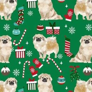tibetan spaniel christmas fabric - tibetan spaniel fabric, christmas fabric, christmas dog fabric - green