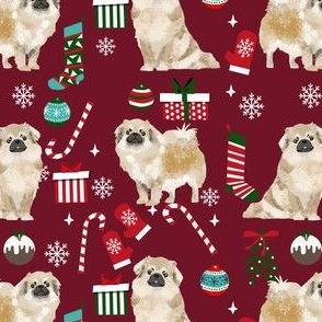 tibetan spaniel christmas fabric - tibetan spaniel fabric, christmas fabric, christmas dog fabric -  ruby