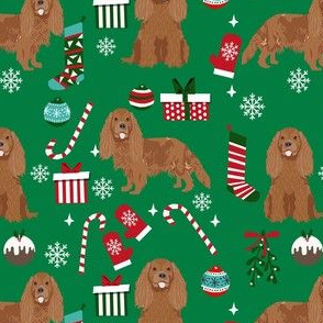 cavalier ruby fabric - king charles spaniel fabric, christmas fabric, christmas dog fabric - green