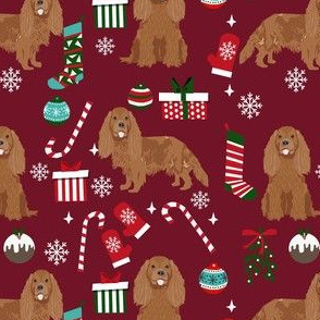 cavalier ruby fabric - king charles spaniel fabric, christmas fabric, christmas dog fabric -ruby