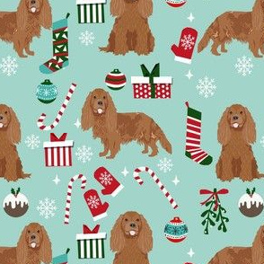 cavalier ruby fabric - king charles spaniel fabric, christmas fabric, christmas dog fabric - light blue
