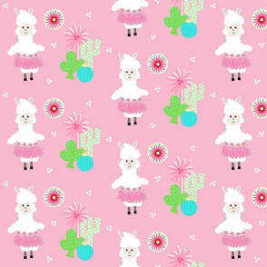 LLAMA Ballerina pink tutu and cactus on pink -  MED7