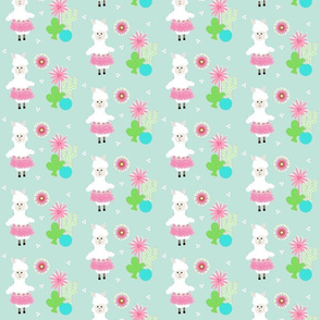 LLAMA Ballerina pink tutu and cactus on mint greeen -  SMALL 45