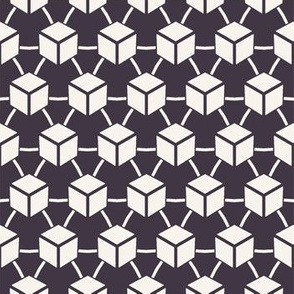 Seamless vector pattern. Hand drawn square cube shapes.