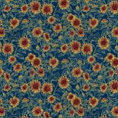 "Blazing Sunflower Meadow (sage-navy) 12"""