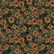 "Blazing Sunflower Meadow (sage-black) 12"""