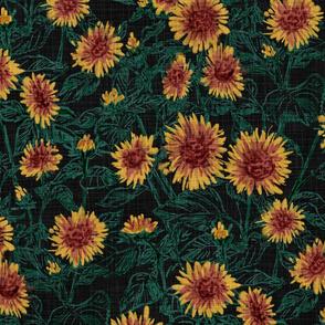 "Blazing Sunflower Meadow (forest-black) 24"""