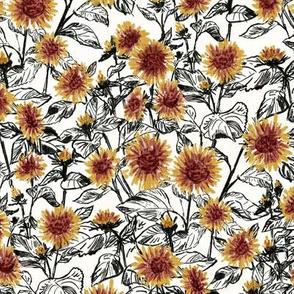 "Blazing Sunflower Meadow (black-white) 9"""