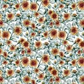 "Blazing Sunflower Meadow (forest-white) 12"""