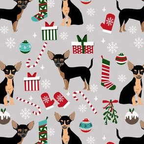 chihuahua dog christmas fabric - cute chihuahua fabric, christmas holiday dog fabric, black and tan chihuahua -  grey