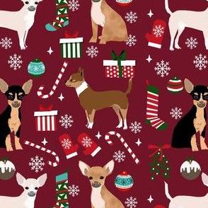 chihuahua dog christmas fabric - cute chihuahua fabric, christmas holiday dog fabric, mixed coats chihuahua -  ruby