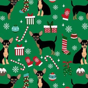 chihuahua dog christmas fabric - cute chihuahua fabric, christmas holiday dog fabric, black and tan chihuahua - green