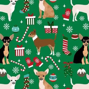 chihuahua dog christmas fabric - cute chihuahua fabric, christmas holiday dog fabric, mixed coats chihuahua -  green