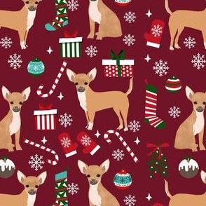 chihuahua dog christmas fabric - cute chihuahua fabric, christmas holiday dog fabric, tan chihuahua -  ruby