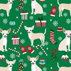 chihuahua dog christmas fabric - cute chihuahua fabric, christmas holiday dog fabric, white  chihuahua - green