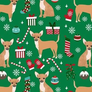 chihuahua dog christmas fabric - cute chihuahua fabric, christmas holiday dog fabric, tan chihuahua -  green