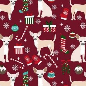 chihuahua dog christmas fabric - cute chihuahua fabric, christmas holiday dog fabric, white  chihuahua -  ruby