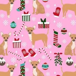 chihuahua dog christmas fabric - cute chihuahua fabric, christmas holiday dog fabric, tan chihuahua -  pink