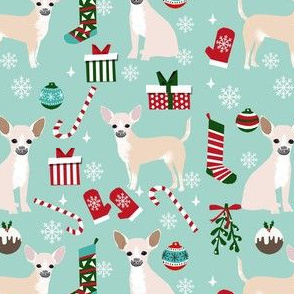 chihuahua dog christmas fabric - cute chihuahua fabric, christmas holiday dog fabric, white  chihuahua - light blue
