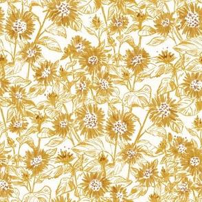 "Golden Sunflower Contour (white linen) 8"""