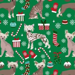 chinese crested dog christmas fabric - christmas dog fabric, chinese crested fabric, dog fabric, holiday - green
