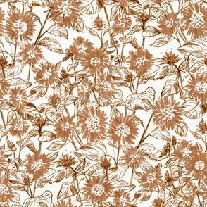 "Bronze Sunflower Contour (white linen) 8"""