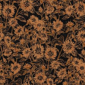 "Bronze Sunflower Contour (black) 18"""